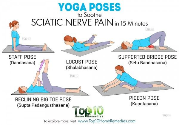 Yoga poses to soothe sciatic nerve pain | Pain management | http://www.top10homeremedies.com/news-facts/yoga-poses-soothe-sciatic-nerve-pain-15-minutes.html