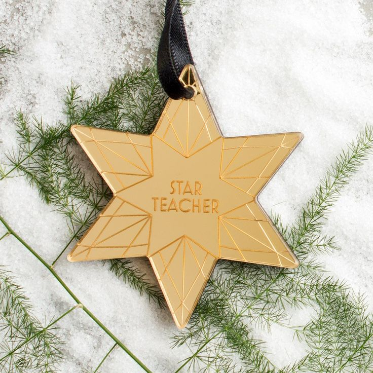 """Personalised Star Teacher Wood Acrylic Christmas Bauble 