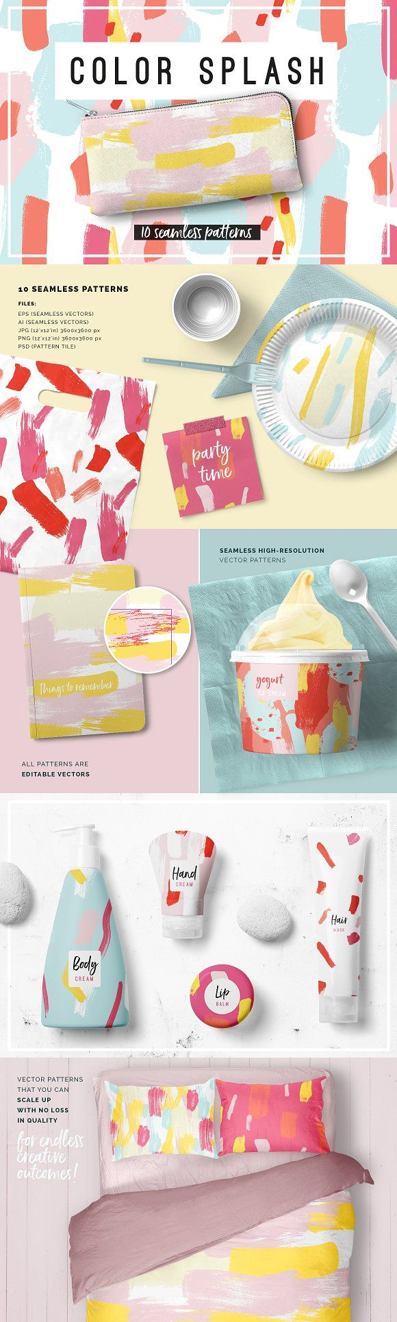 Color Splash Patterns by Youandigraphics on @creativemarket