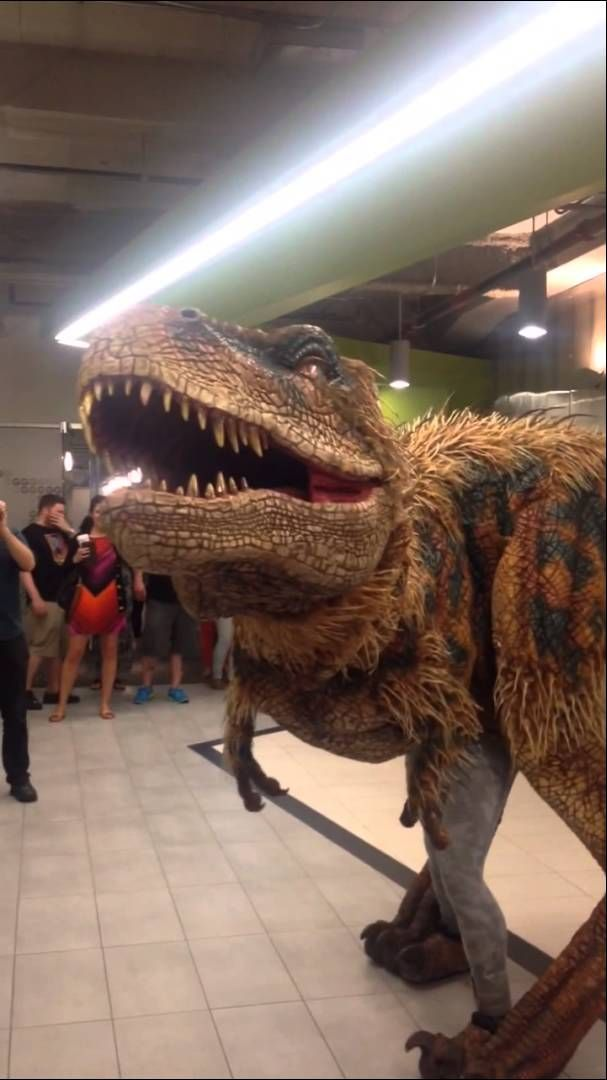 Must Share with son.  One of the baby Tyrannosaurus Rex costumes used in 'Walking with Dinosaurs' paid a visit to Groupon's headquarters in Chicago, IL and greeted some workers us...