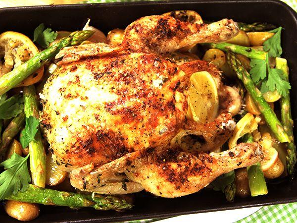82 grader i kycklingen för mycket för ekologisk. Sparrisen kan läggas på tidigare. Gott!