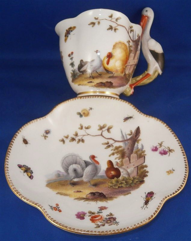 Rare Mystery Stork Handle Porcelain Cup & Saucer Furstenberg Porzellan Tasse #UnknownGerman