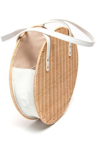 Aleso Wicker & Leather Bag by Rachel Comey. Made from Italian vegetable-tanned calf leather and custom wicker panels woven in the Philippines.