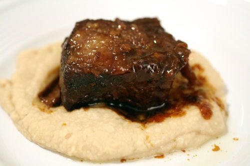 Braised Hoisin Beer Short Ribs - use only 1/2 cup hoisin sauce, and use the slow cooker instead of stove/oven.