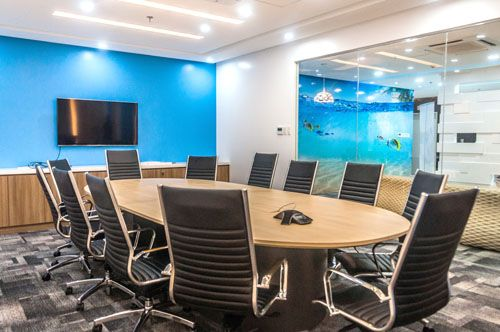 Meeting room idea.  Conference in blue colors wall with wood  design used by companies as an Coworking Space, meeting place and for comference in the Phillipines.