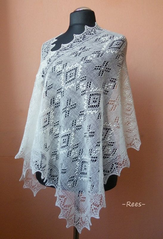 Hand knitted natural white Haapsalu shawl, traditional Estonian lace shawl- READY TO SHIP via Etsy