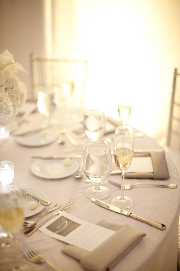 white on white wedding reception