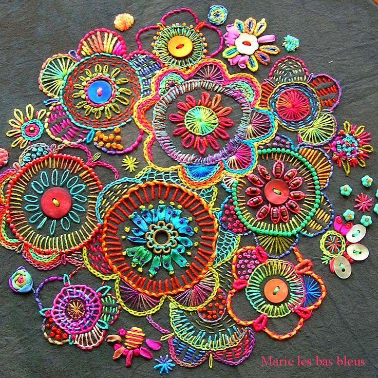 Más de ideas fantásticas sobre flores bordadas en