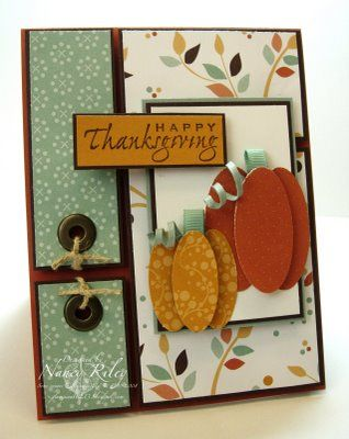 By Nancy Riley. Oval punch pumpkins with ribbon stems. Love the layout and the designer paper.
