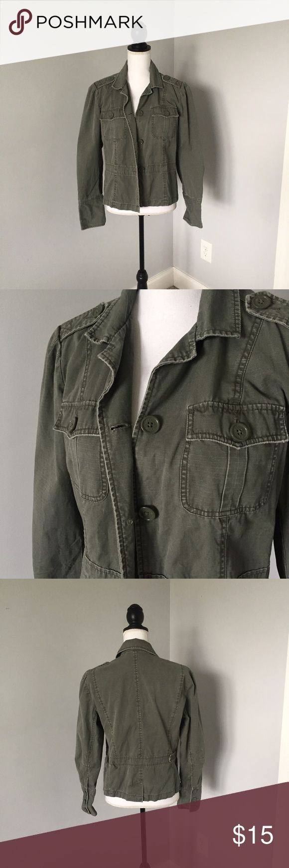 American Eagle Army Green Jacket This jacket is in excellent condition, is missing a button in the back. Has some distress on the collar. Offers welcomed! American Eagle Outfitters Jackets & Coats