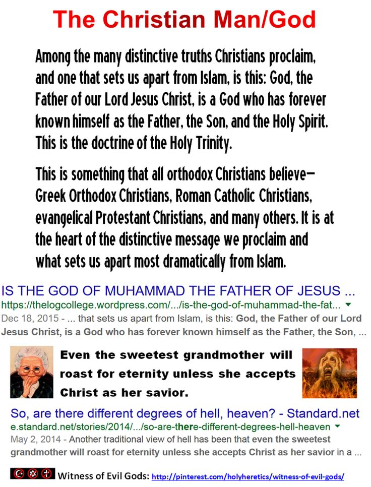 "Among the many distinctive truths Christians proclaim, and one that sets us apart from Islam, is this: God, the Father of our Lord Jesus Christ, is a God who has forever known himself as the Father, the Son, and the Holy Spirit. This is the doctrine of the Holy Trinity. https://www.pinterest.com/pin/540924605224152494/ Christians are tortured forever in Muhammad's hell because of their horrific ""shirk"", their idolatry, their ridiculous belief in the criminal concept of the Trinity."