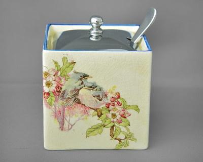Adorable Parrot & Co Coronet Ware Preserve Pot & lid with spoon c1920-60s