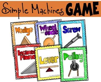 This is a very simple game that will help kids learn and review the six simple machines: wedge, wheel & axel, screws, inclined planes, levers, and pulleys. A wide range of ages will enjoy this science game from Kindergarten  5th grade students.Included in the game are the following 4 cards about each of the six simple machines:     1) Simple machine word & picture     2) Definition     3) Real Word Example #1     4) Real Word Example #2Complete playing instruction included.