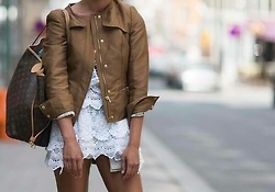 White Lace Dress + Tan Leather Jacket