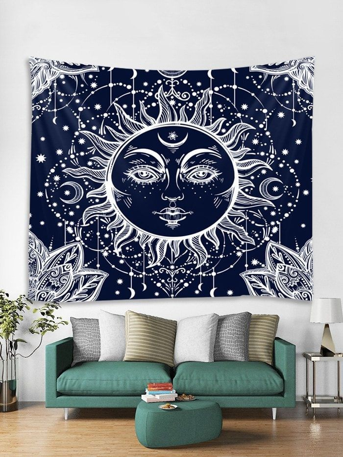 Sun Moon Print Tapestry Wall Art Hanging Decoration Hanging Wall Art Hanging Art Printed Tapestries