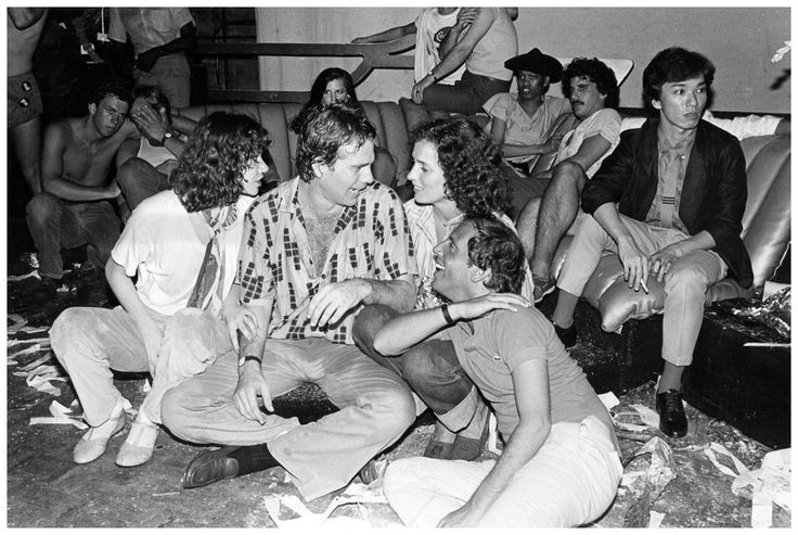 Ryan O'Neal, Margaret Trudeau, Steve Rubell and Grace Jones on sofa at Studio 54, 1978