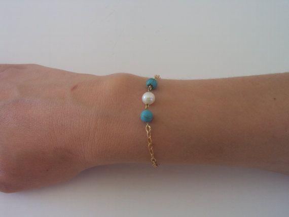 Gossip Girl  White Pearl Bracelet  Turquoise by VasiaAccessories
