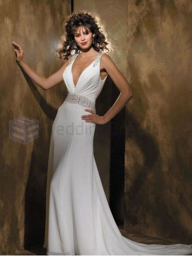 Column Overlay Bodice Deep V-Neckline Sweep Train Wedding Dresses