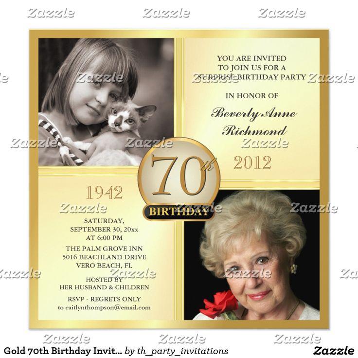 70.as invitaciones del cumpleaños del oro entonces