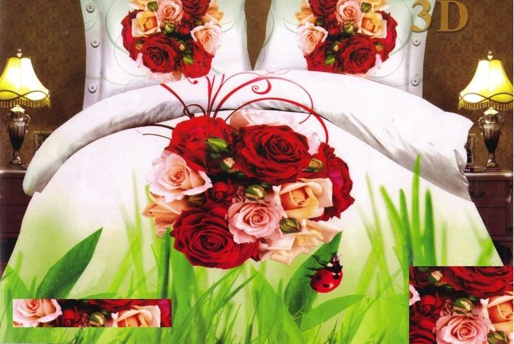 Bielo zelené posteľné obliečky s kyticou ruží uprostred