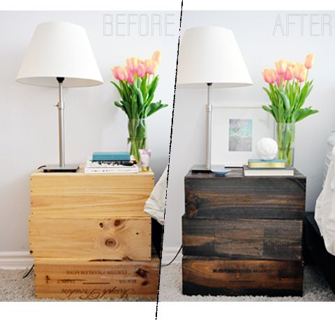 Nightstands from a few discarded wine boxes at the LCBO for a dollar a piece.