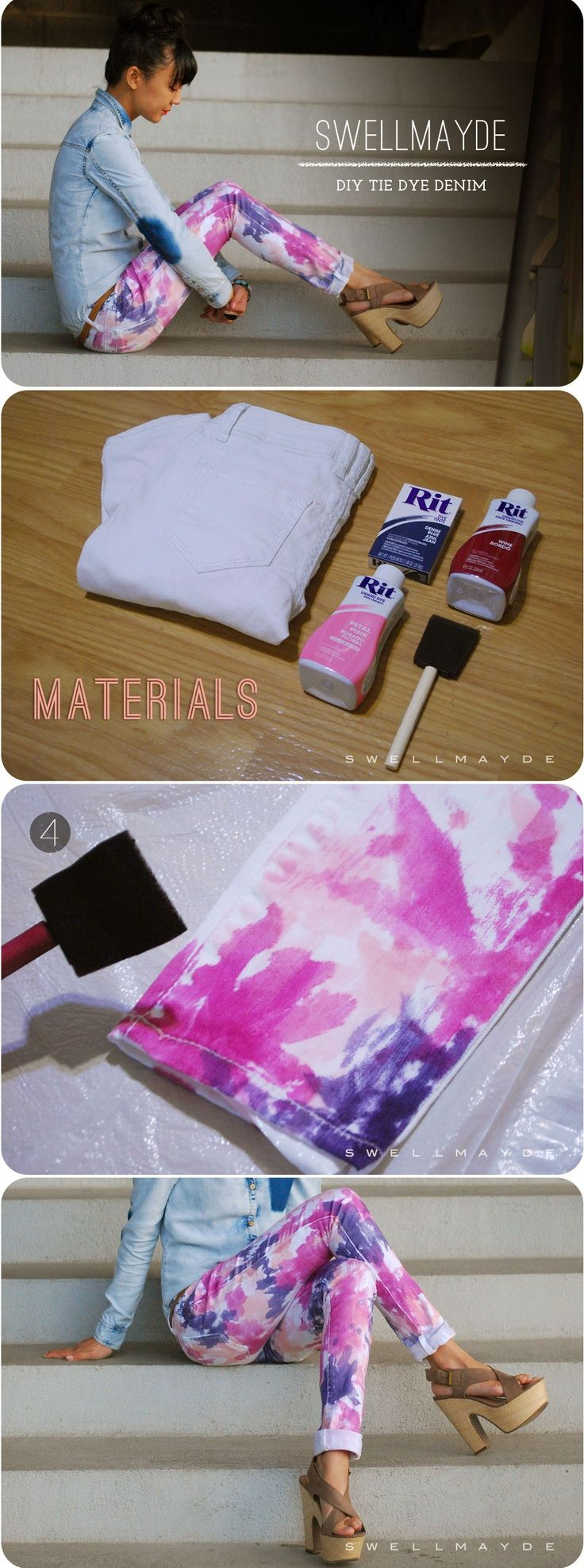 DIY Tie Dye Jeans: Dyes Denim, Diy'S Ties Dyes Jeans, Ties Dyes Jeans Diy'S, Diy'S Dyes Jeans, Tie Dye Jeans, Diy'S The Dyes Jeans, Diy'S Clothing, Color Pants, Crafts