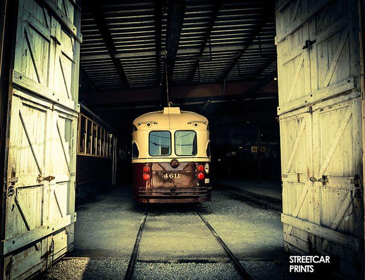 Photo canvas art of vintage TTC streetcar in a barn