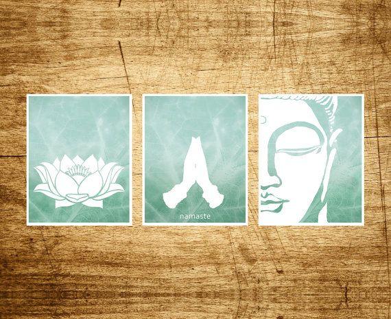 Namaste Set 3 Prints Lotus, Namaste and Buddha Art Prints, Modern Yoga, Zen Design, Modern Meditation Decor, Buddhist Art, Yoga Studio