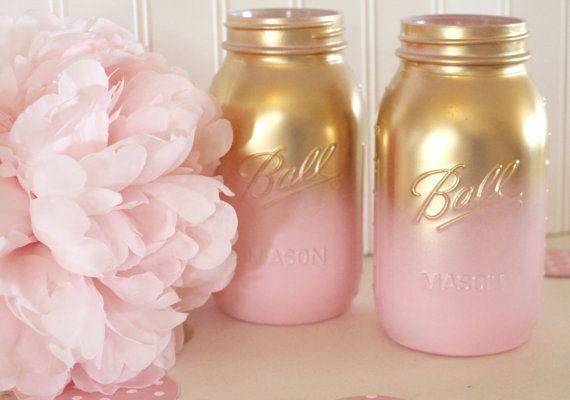 Pink and Gold Ombre mason jars. This listing is for two quart size jars. They have gone through a three step process which minimizes chipping.