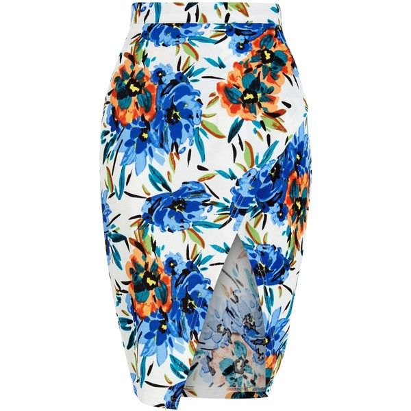 New Look Parisian White Tropical Print Wrap Midi Skirt ($19) ❤ liked on Polyvore featuring skirts, white pattern, midi skirt, calf length skirts, white midi skirt, holiday skirts and white knee length skirt
