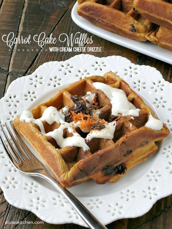 An easy recipe for Carrot Cake Waffles with Cream Cheese Drizzle made healthier! | http://alidaskitchen.com