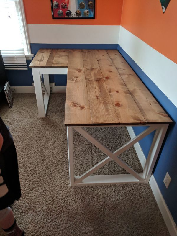 L Shaped Double X Desk In 2020 Diy Office Desk Diy Crafts Desk