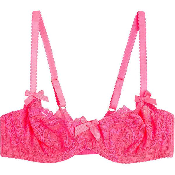 LAgent by Agent Provocateur Vanesa Non Padded Demi Bra (100 CAD) ❤ liked on Polyvore featuring intimates, bras, underwear, pink, lacy bras, neon bra, padding bra, pink lace bra and pink bras