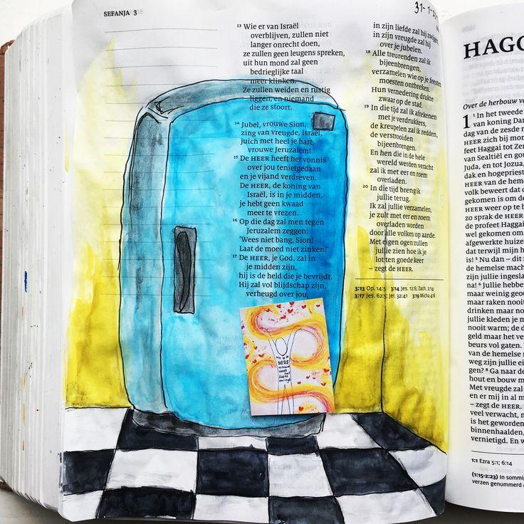 #biblejournaling #schrijfbijbel 'als God een koelkast had, zou jouw tekening erop hangen!'