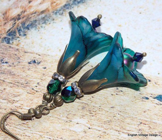 Lucite Flower Earrings,'Caribbean Sea', Victorian Earrings, Boho Earrings, Hand Painted, Dangle Earrings, Swarovski Crystals. Handmade