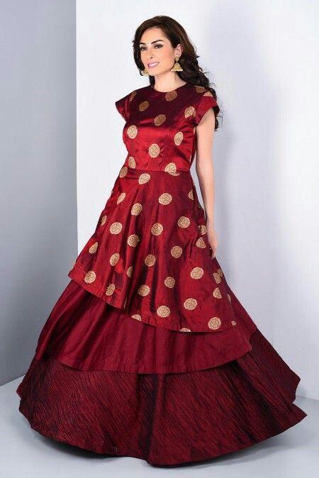 NIYOOSH - red multi layered brocade gown