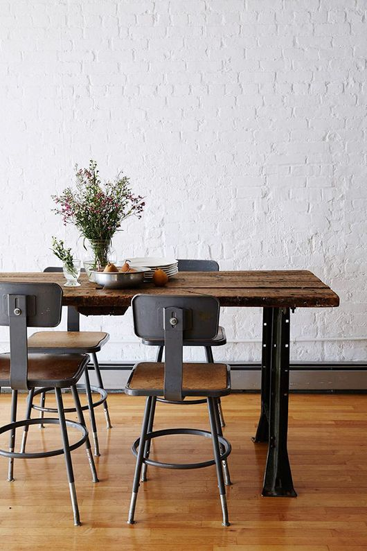 the house of maman / sfgirlbybay Rustic, industrial, brick, reclaimed wood, dining space