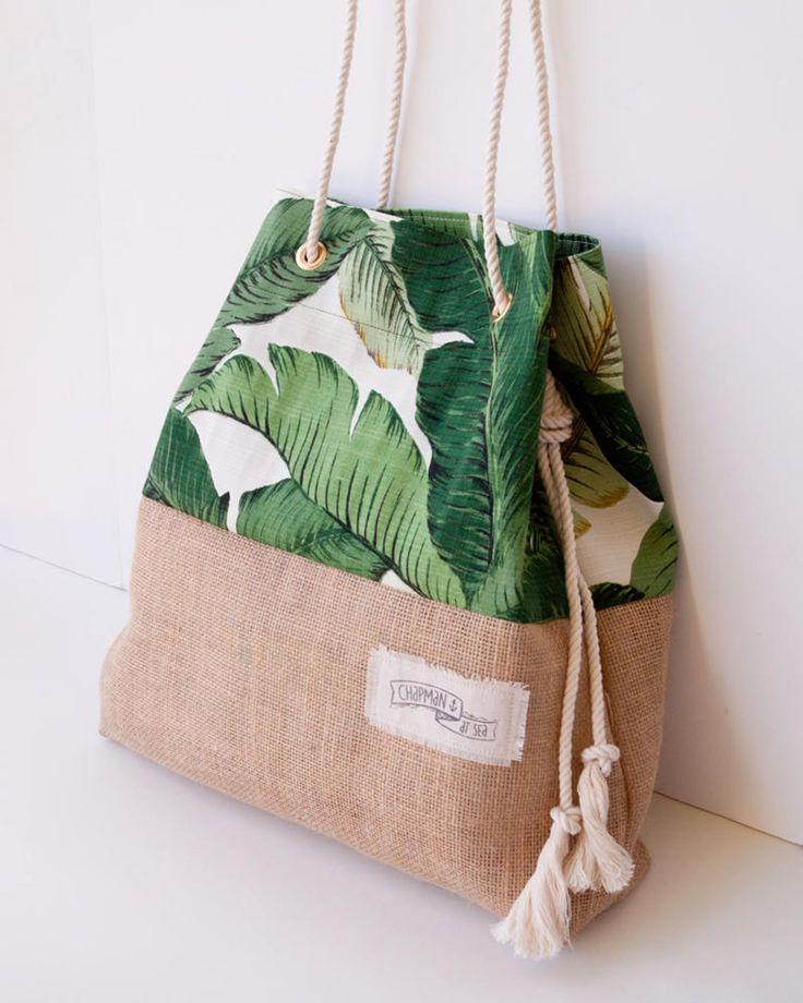 Palm Print Burlap Beach Bag The Sandbag in Green Banana Leaf Jute