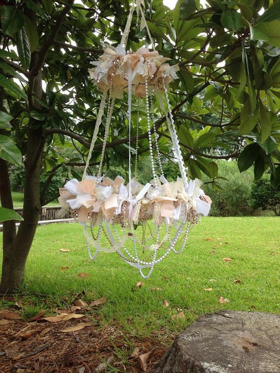 Fabric Chandelier - Neutral Blends with Gold Accents - Tattered, Rustic, Shabby, Cottage, Chic, Boho - Photo Prop, Nursery Mobile, Wedding on Etsy, $119.00