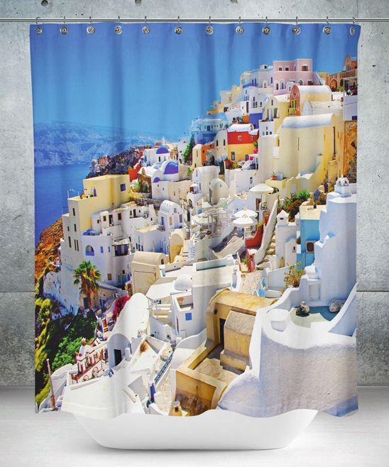 White Mediterranean Village Shower Curtain