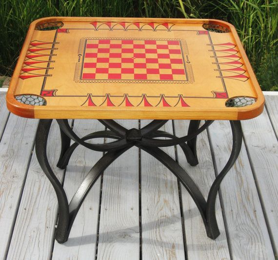 Vintage Carrom Game Flip Top Coffee Table With Iron Base Refurbished Original Home Decor