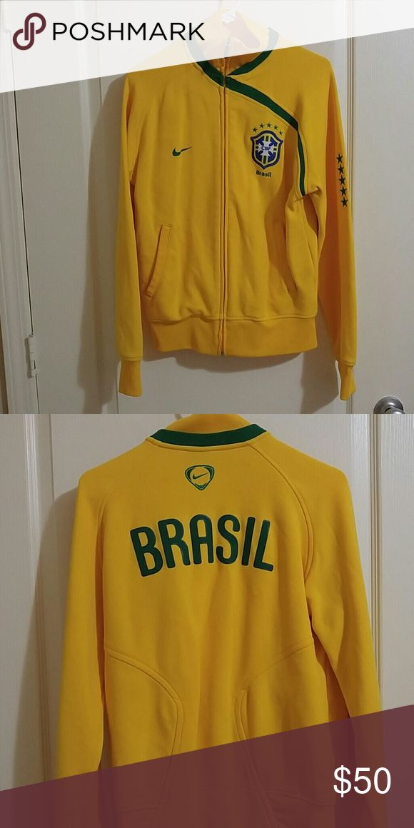 Brasil soccer jacket I'M MOVING!! Trying to get rid of as much as possible. Beautiful bright yellow jacket. Like new condition, only worn a few times. Questions and offers welcome. Nike Jackets & Coats