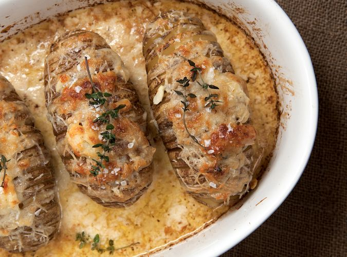 This recipe for Scalloped Hasselback Potatoes is the perfect side dish to serve with a roasted prime rib or pork tenderloin. Makes an ordinary meal extraordinary.