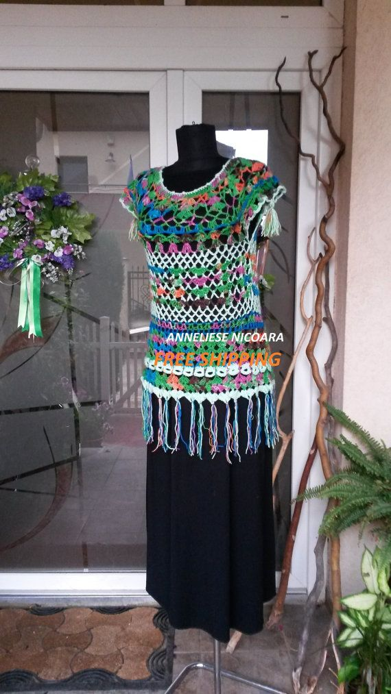 Crochet Blouse/Cover up And Blouse/Boho chic by AnnesMagicCrochet