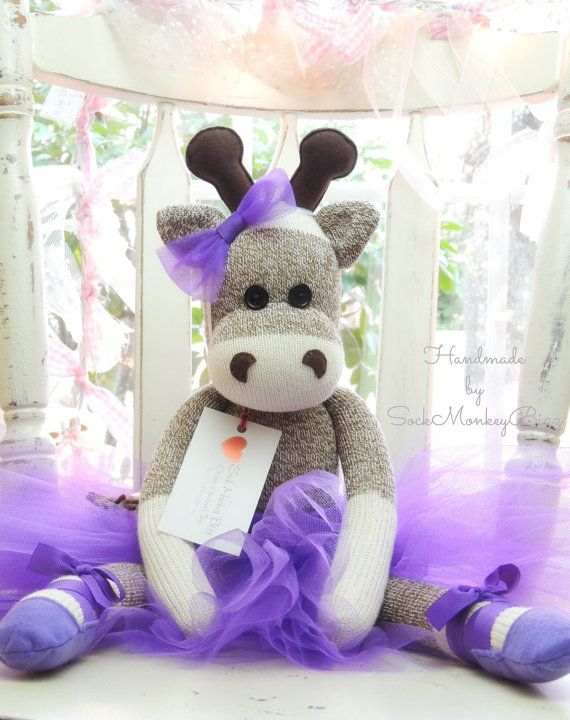 Ballerina Giraffe Sock Monkey Doll by SockMonkeyBizz on Etsy