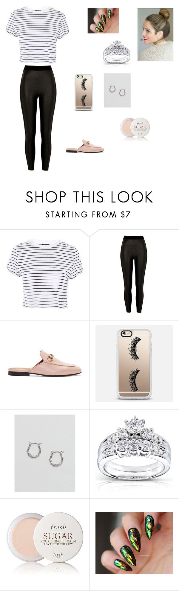 """""""İn the home💒"""" by aiea ❤ liked on Polyvore featuring Topshop, River Island, Gucci, Casetify, ASOS, Kobelli and Fresh"""