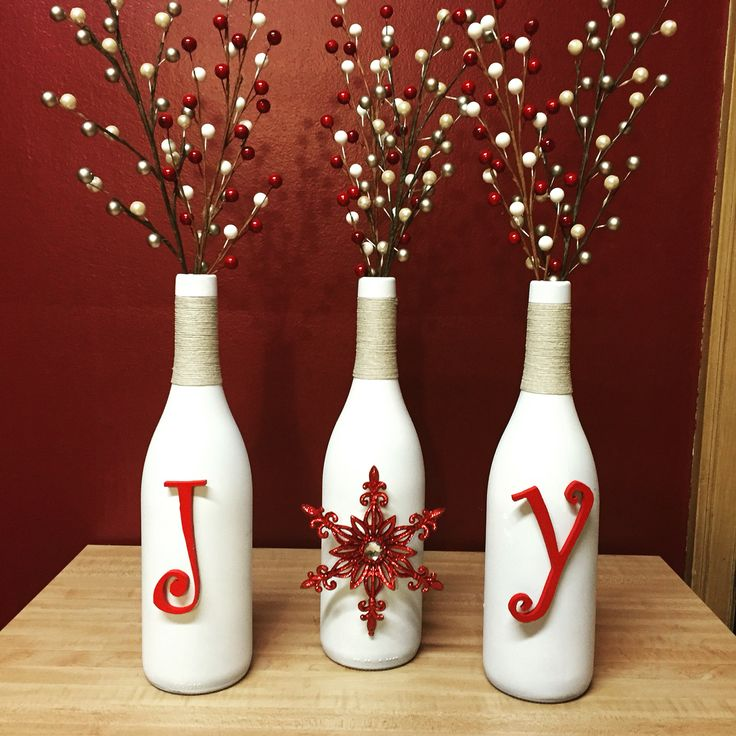 Craft night was a success! DIY wine bottle decor. #wine_bottle_vase