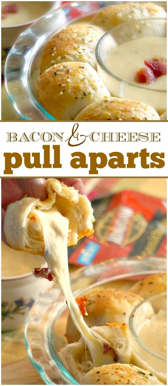 Bacon cheese pull aparts are a perfect side to any soup! Filled with ooey gooey cheese, garlic, and bacon they taste amazing! via @thetypicalmom