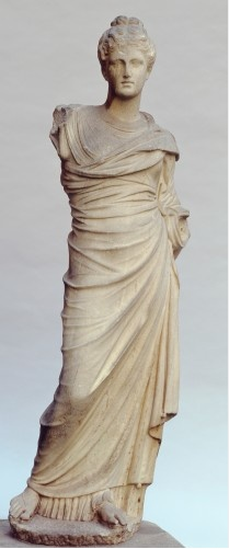 A Goddess (Persephone)  20 BC-50 AD  Greek, after a work of about 340 BC    Marble, 151.1 cm high    She stands elegantly in Mrs.Gardner's courtyard...    It was Praxitelean draped beauty which appealed to Mrs. Gardner's tastes and standards in Greek sculpture. The Praxitelean goddess or lady of fashion brought to Boston at the outset of the Edwardian decade suited these aspirations to classical perfection.