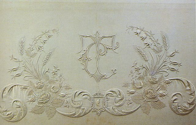 T C embroidered monogram (description doesn't begin to do this exquisite work justice) from an old, long out-of-print Italian book on beautiful monogram embroidery. via Kristine (townmouse) on flickr
